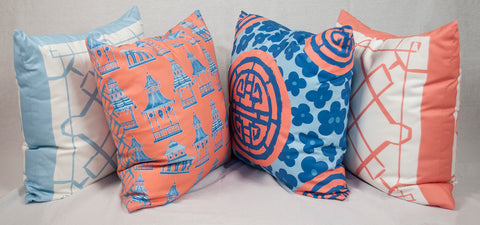 Pink and Blue Chinoiserie Throw Pillows