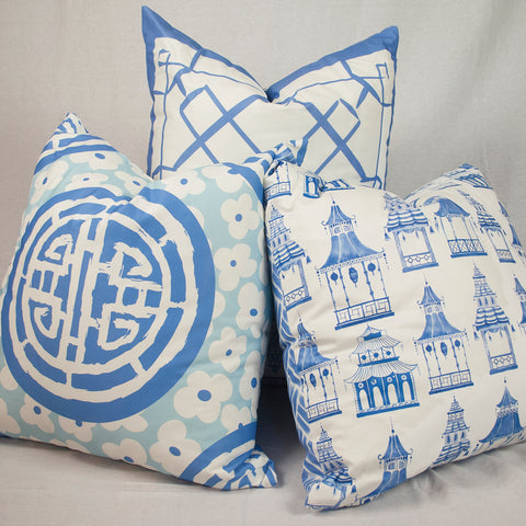 Blue Chinoiserie Throw Pillows