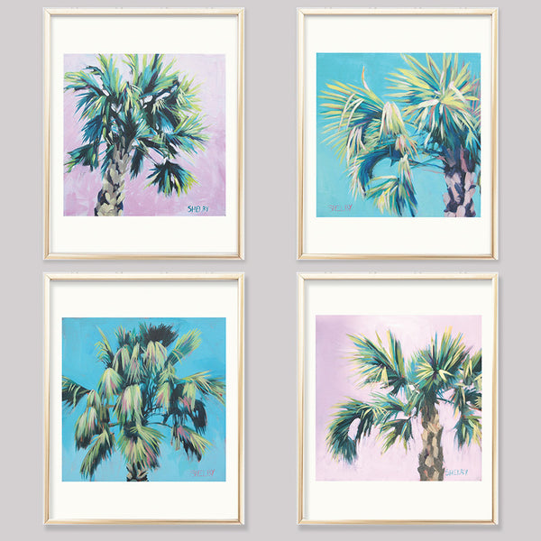 4 Palm Tree Colorful Pop Art Prints