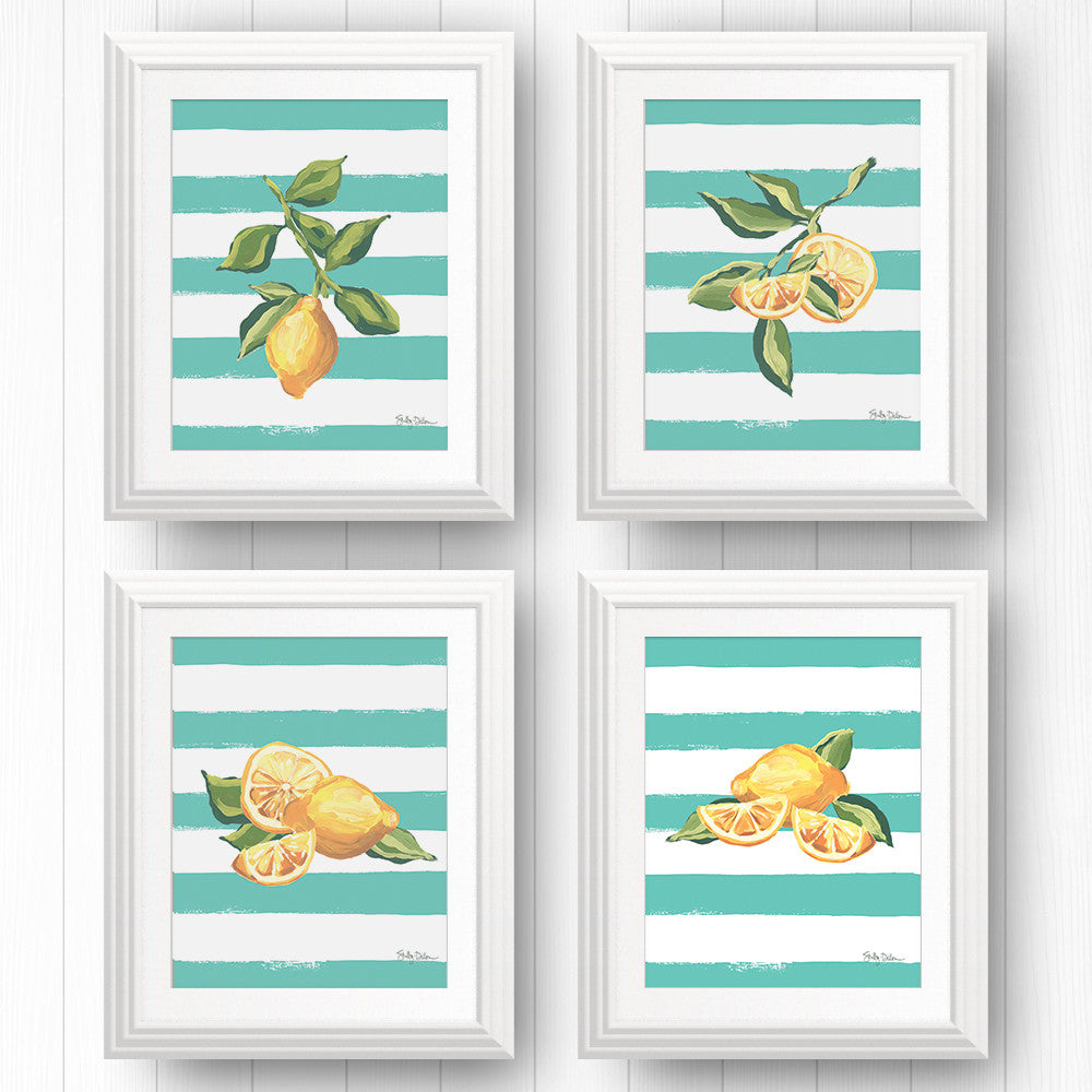 4 Limoncello Lemon Wall Art Prints