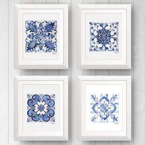 Portugese azulejo tile art print set | Blue and White