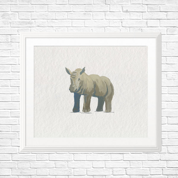 Baby Rhino Art Print - Safari Nursery