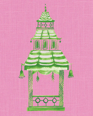 Green and Pink Pagoda Prints - Set of 4