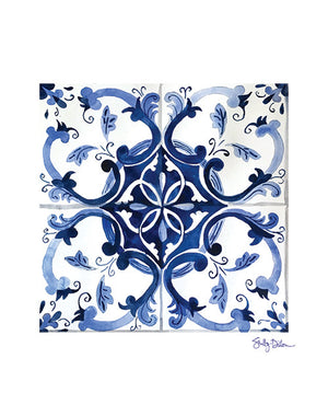 Portuguese Azulejo Blue and White Tile Art Print