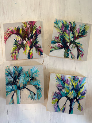 "Mini Painting - Holiday Palm #1 - 6x6"" square"