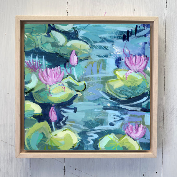 "Water Gardens - Day 12 - 8x8"" framed painting"