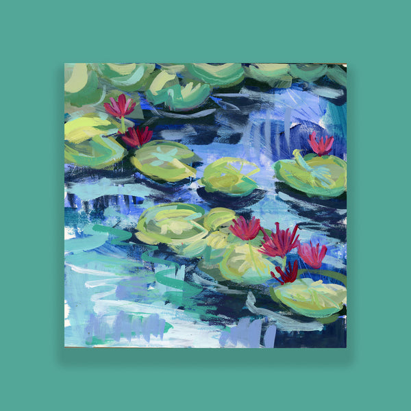 "Water Gardens - Day 13 - 8x8"" framed painting"