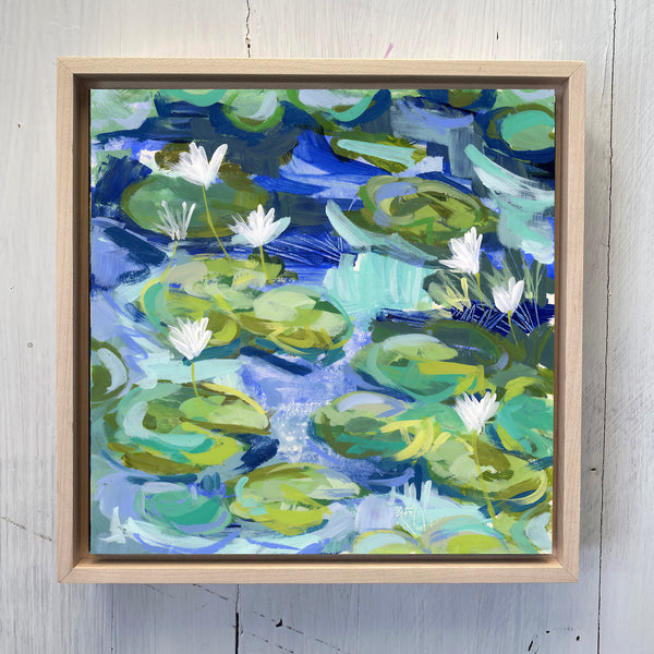"Water Gardens - Day 14 - 8x8"" framed painting"