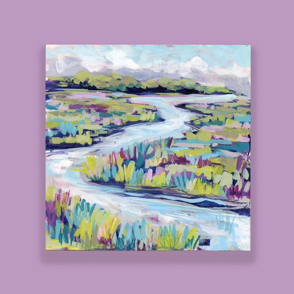 "Water Gardens - Day 15 - 8x8"" framed painting"