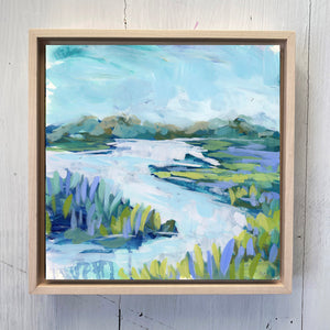 "Water Gardens - Day 16 - 8x8"" framed painting"