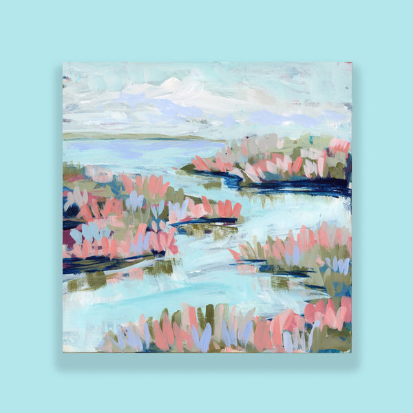 "Water Gardens - Day 17 - 8x8"" framed painting"