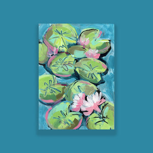 "Water Gardens - Day 1 - 5x7"" mini vertical painting"