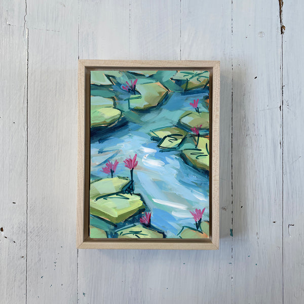 "Water Gardens - Day 6 - 5x7"" mini vertical painting"