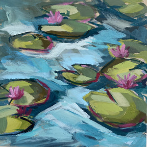 "Mini Painting - Lilypad #2 - 6x6"" square"
