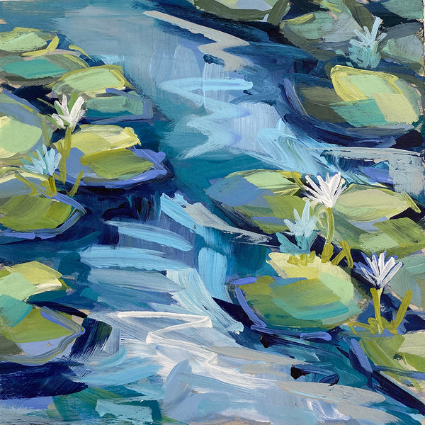 "Mini Painting - Lilypad #4 - 6x6"" square"