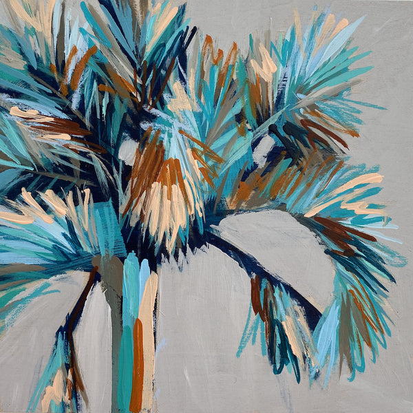 "Mini Painting - Holiday Palm #2 - 6x6"" square"