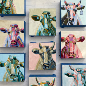 "Mini Moo Painting ""Greta"" - 6x6"" square"