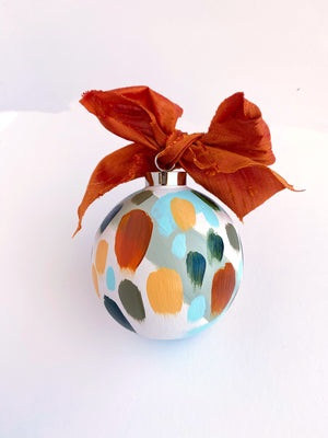 Set of 4 round hand painted ceramic ornaments