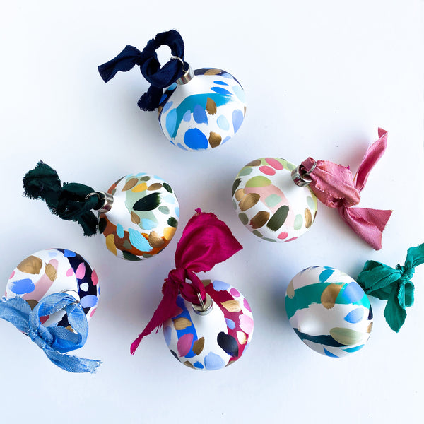 Set of 4 retro hand painted ceramic ornaments