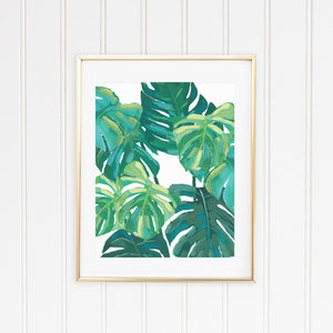 Monstera Leaf Tropical Wall Art Print