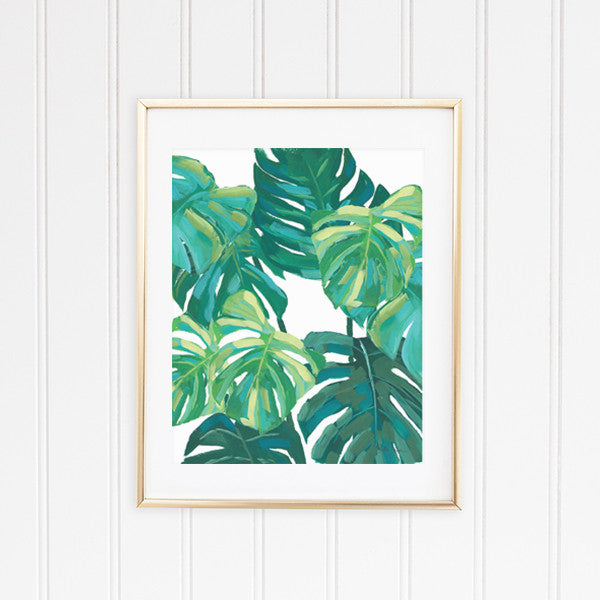 Framed Monstera Leaf Wall Art Print