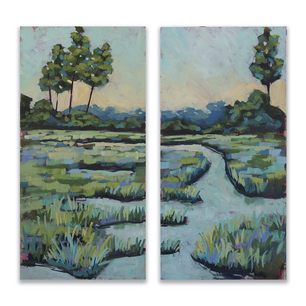 "One Way Home diptych - 36x36"" Pair of Paintings - SALT Collection"