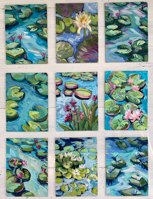 "Water Gardens - Day 9 - 5x7"" mini vertical painting"