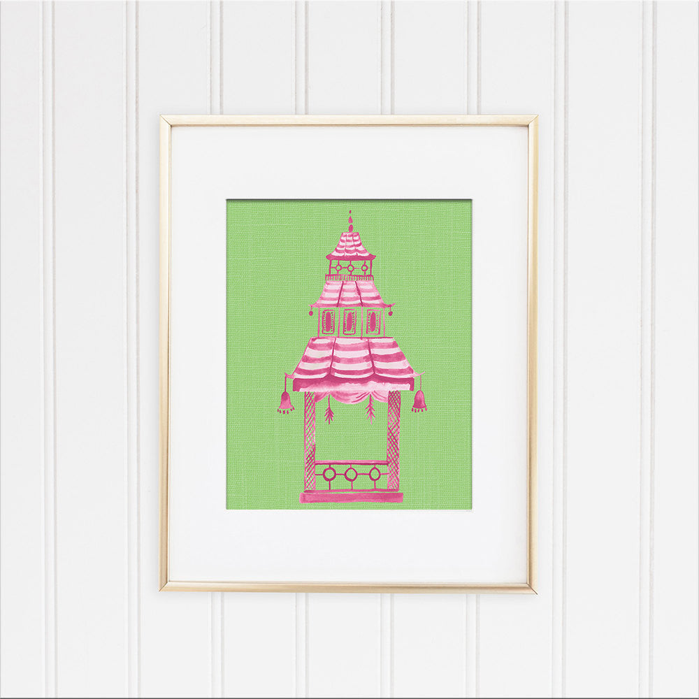 Pink and Green Pagoda Framed | Fine Art Print