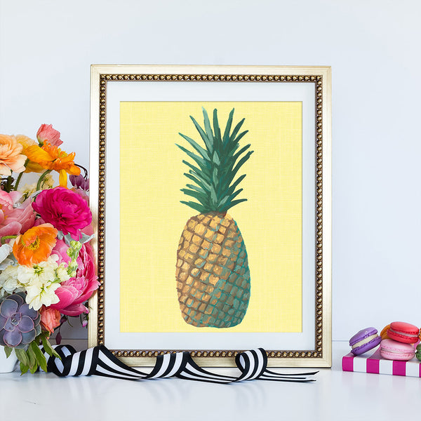 Yellow Pineapple Pop Art Framed | Art Print