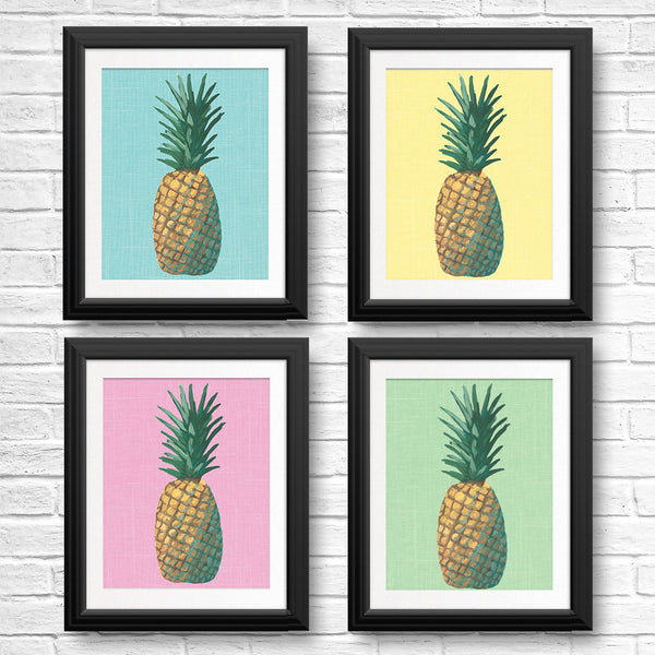 Tropical Pineapple Pop Art | Set of Prints Framed