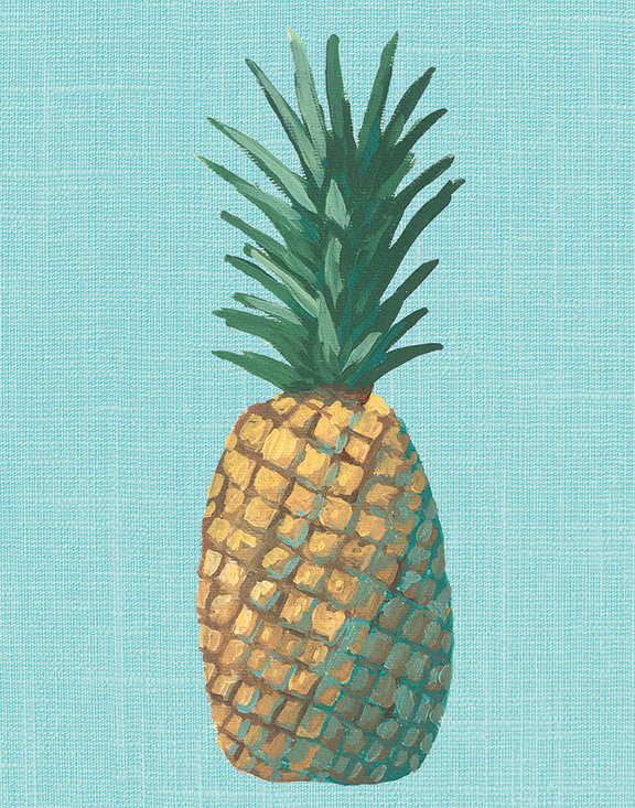 Aqua Pineapple Pop Art Unframed | Art Print