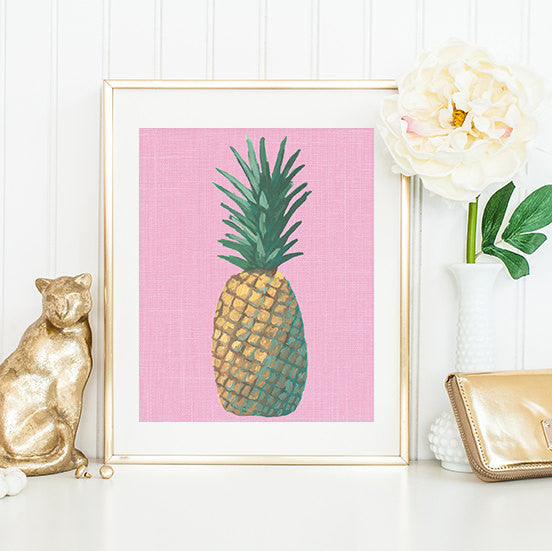 Pink Pineapple Pop Art Framed | Art Print