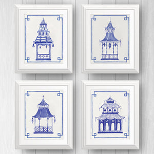 Blue and White Pagoda Set of 4 | Fine Art Prints