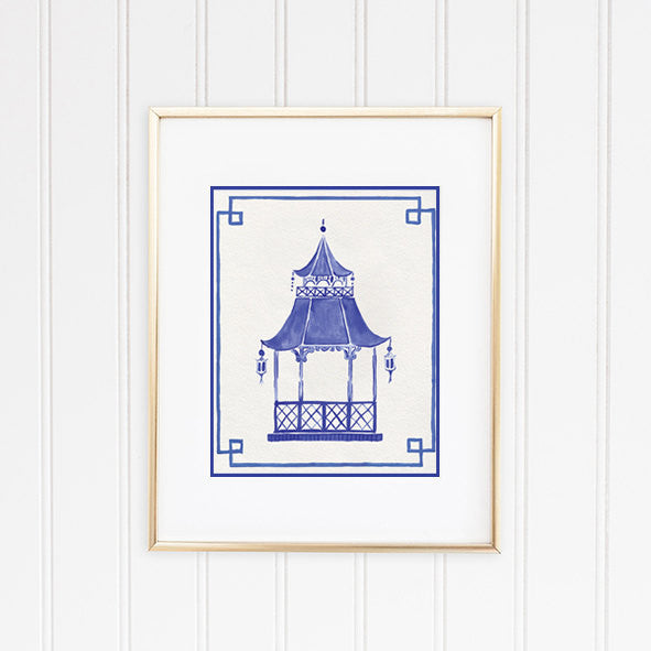 Blue and White Pagoda Framed | Fine Art Prints