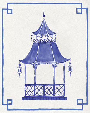 Blue and White Pagoda Unframed | Fine Art Prints