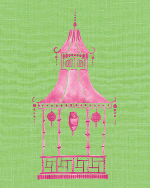 Pink and Green Pagoda Unframed | Fine Art Print
