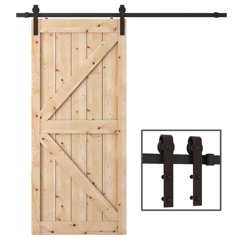 WBHome 6.6 Feet Country Steel Sliding Barn Door Hardware Kit Antique Style (Brown)