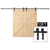 WBHome 13FT Black Country Barn Wood Steel Sliding Barn Door Hardware Kit Antique Style, Double Doors