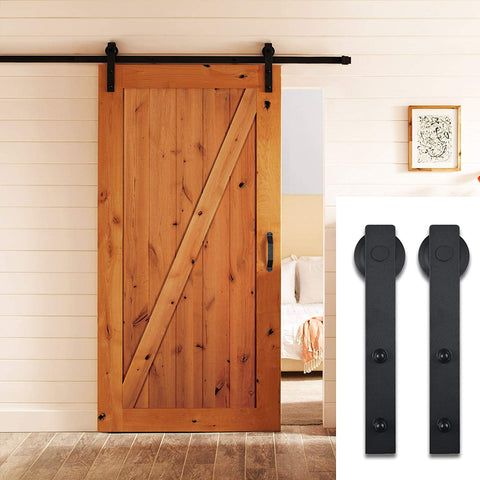 8 FT Aluminium Alloy Sliding Barn Door Hardware Set Black