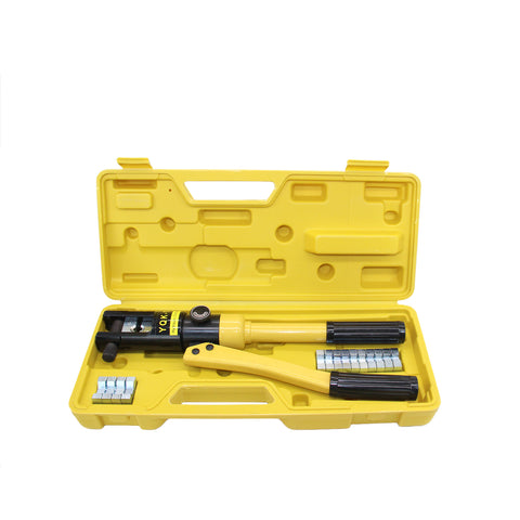 AURELIO TECH Hydraulic Wire Battery Cable Lug Terminal Crimper Crimping Tool, 8Dies, 12 Ton