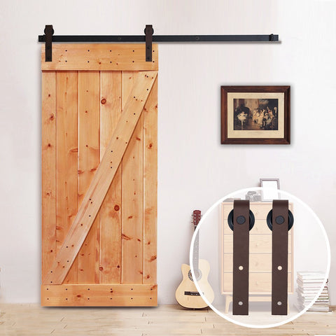 6.6 FT Steel Barn Door Hardware Set Brown One-Piece Rail