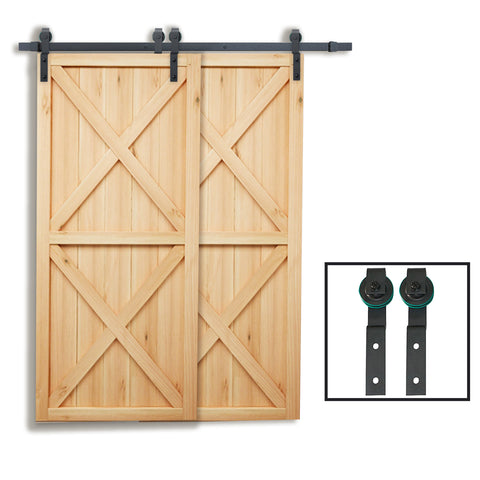 6.6 FT Single Track Bypass Double Barn Door Hardware Black One-Piece Rail
