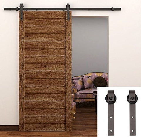 6.6 Feet Sliding Barn Wood Door Hardware Antique Style (Brown) - SDH-0023-BR