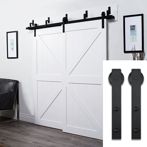 6.6FT Bypass Double Track Sliding Barn Door Hardware Black
