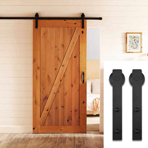 6.6 FT Aluminium Alloy Sliding Barn Door Hardware Set Black/Brown
