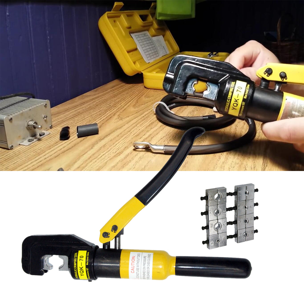 10-Ton Hydraulic Crimping Battery Cable Wire Crimper Lug Terminal Tool w// 9 Dies