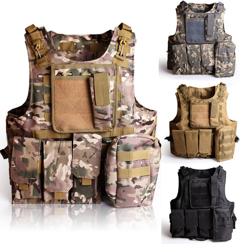 Tactical Molle Combat Vest Airsoft Gear Camouflage Police Fully Adjustable Black/Tan/ACU