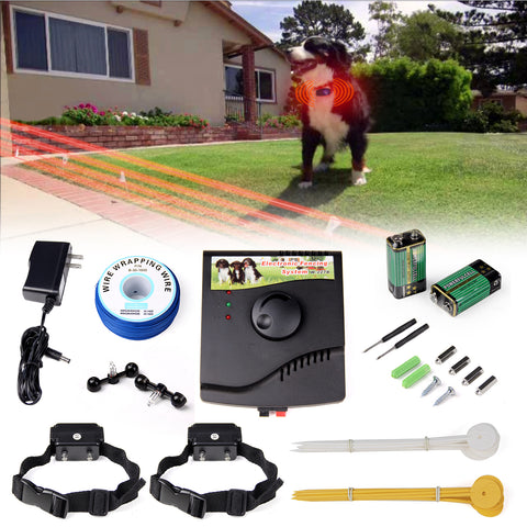 Electric Fence Hidden System 2 Dogs Shock Collars Waterproof Wire