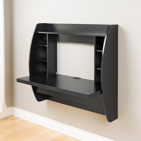 TCBunny Floating Desk with Storage Wall Mounted Black