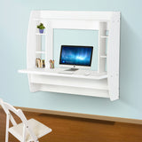 TCBunny Floating Desk with Storage Wall Mounted White